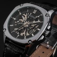 WINNER Top Brand Luxury Golden Men Mechanical Watch Mesh Strap Skeleton Dial Men