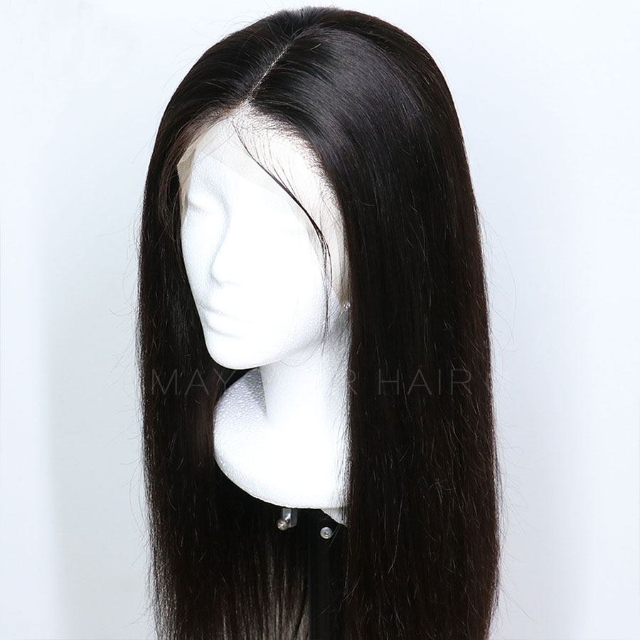 Maycaur Black Color Long Straight Synthetic Lace Front Wigs For Black Women Gluless Wig with Natural Hairline (5)