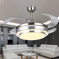 Modern Ceiling Light with Fans LED Chandelier Remote Control Retractable Blades 3 Speeds 3Color Changes Lighting Fixture
