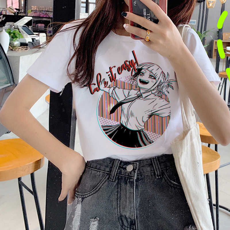 Ahegao Cetak T Shirt Wanita Harajuku Ullzang Senpai T-shirt Himiko Toga Boku No Hero Academia Grafis 90S Fashion Top tees Wanita