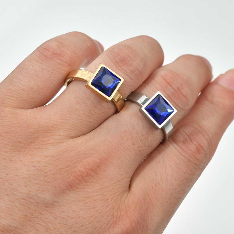 แฟชั่นผู้ชายสแตนเลสแหวน Party Punk Square Blue คริสตัลหรูหราสไตล์แหวนผู้ชายเครื่องประดับของขวัญ