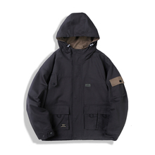 YUECHEN Autumn And Winter New Mens Youth Vitality Solid Color Pocket Decoration Hooded Jacket Cotton Loose Comfortable