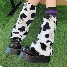 Lovely Jk Women Leg Warmer 2021 Autumn Winter Lady Lolita Cow Cartoon Cute Fashion Velvet Warm Sock Street Outdoor Basic Wear