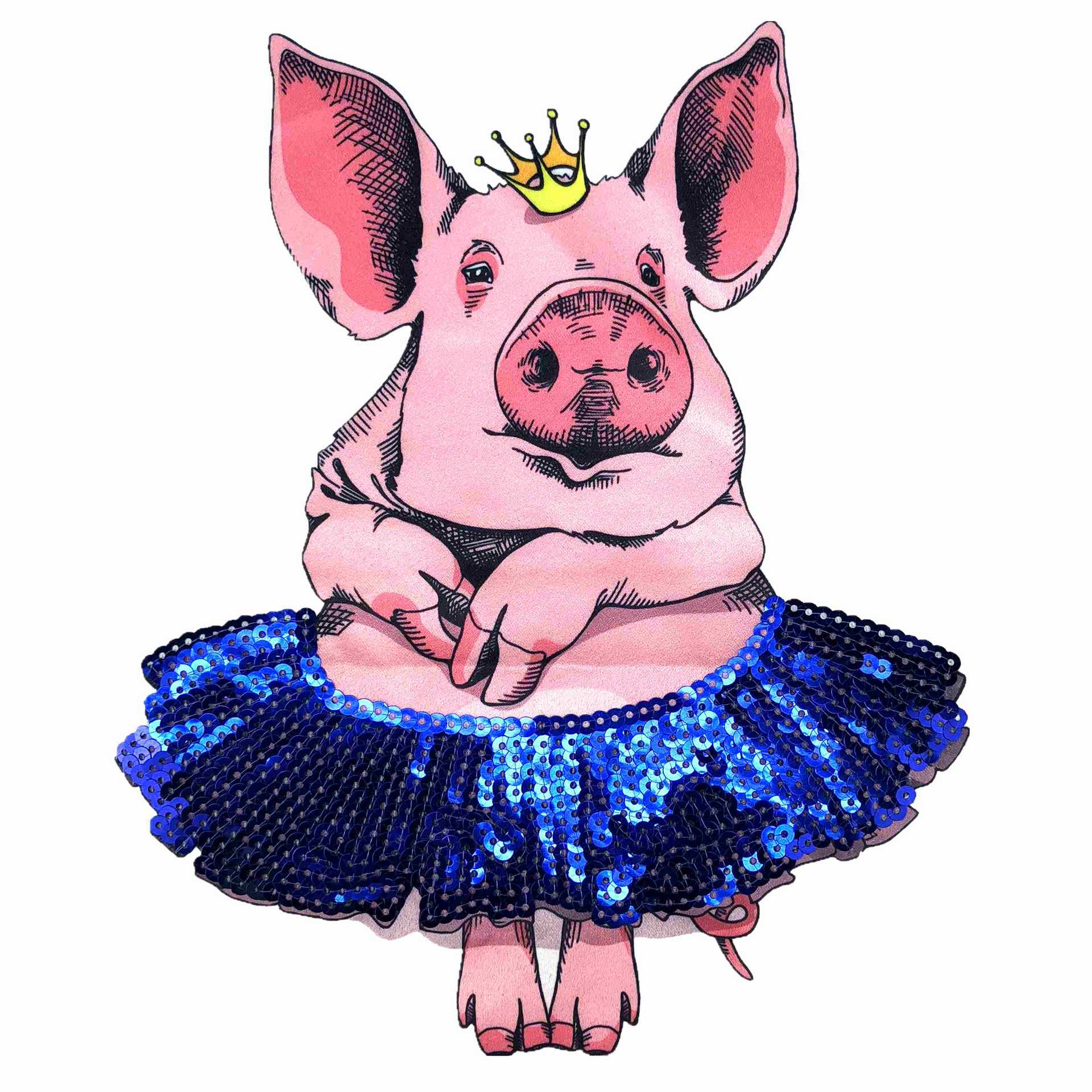 1 Pcs Cute Pig Sequin Pattern Big Patch Applied To Coat T-shirt Clothing Applique DIY Decoration Patches