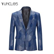 YUNCLOS 2019 Navy Blue One Buckle Party Jacket Men Closure Collar Men Blazer Veste Homme Costume Banquet Men Blazer No Split 4XL цена