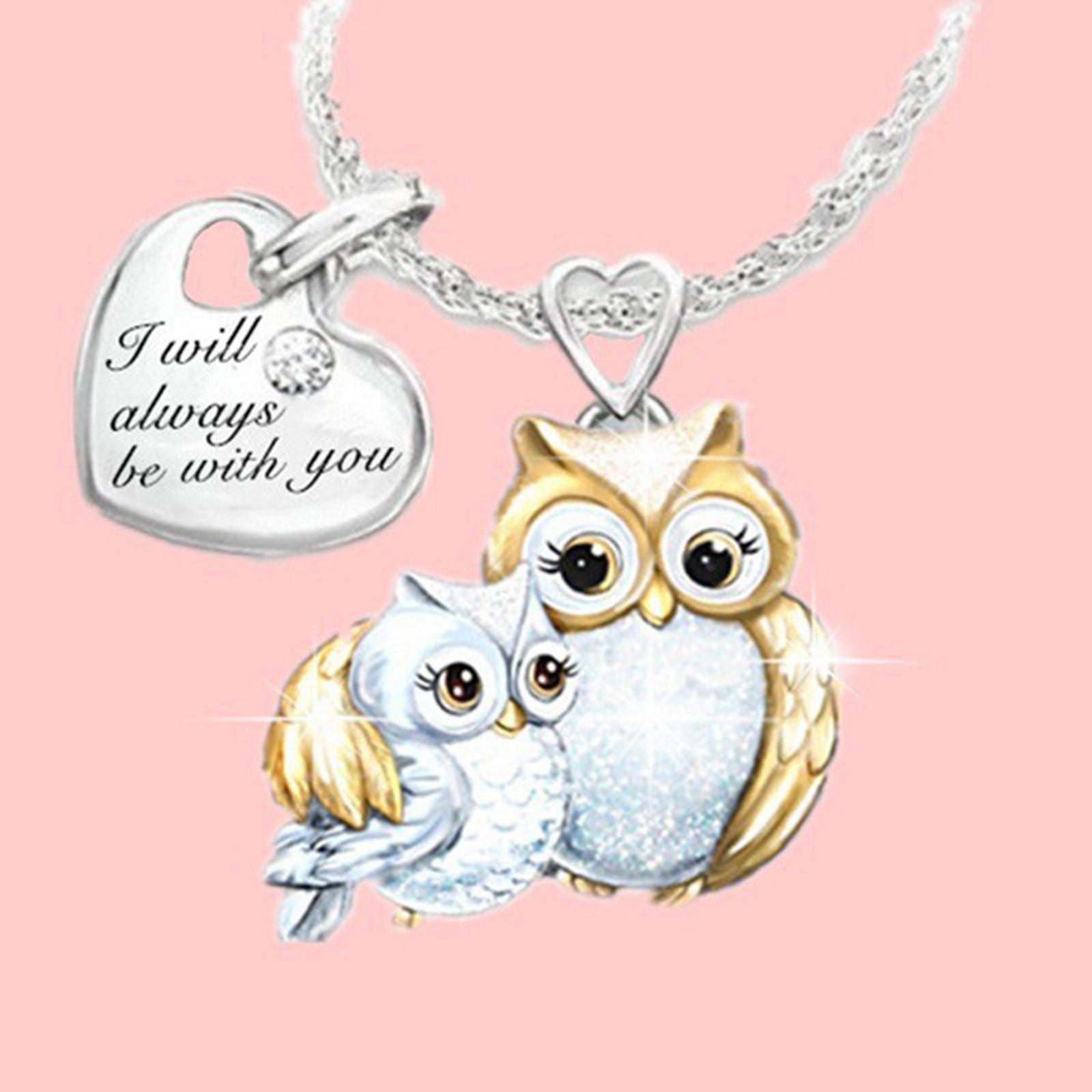 mandala dotpainting unique jewelry Handpainted chain pendant owl gift
