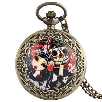 Reloj de bolsillo vintage con diseño de calavera y cuarzo para hombre y Mujer