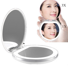 New LED Mini Makeup Mirror 3X Magnifying Compact Travel Portable USB Charged Sensing Lighting Makeup Mirror Make Up Tool(China)