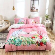 Розовый пододеяльник с наволочками 3d принтом постельное белье