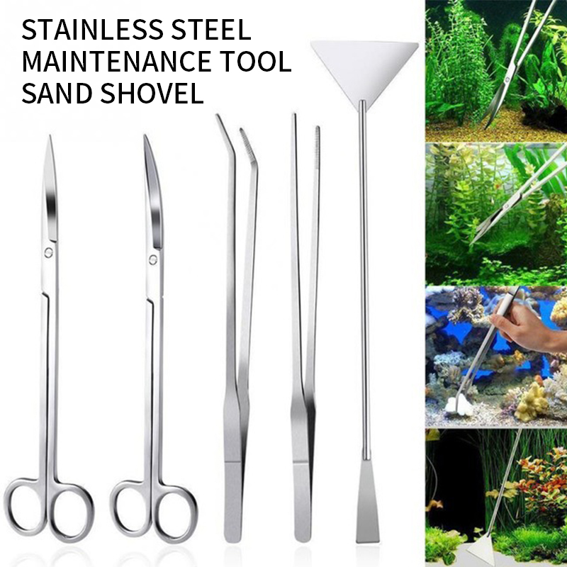 Tanque de aquário ferramentas aquascaping aquário tesoura pinças ferramenta aço inoxidável conjunto plantas aquáticas para manutenção do aquário