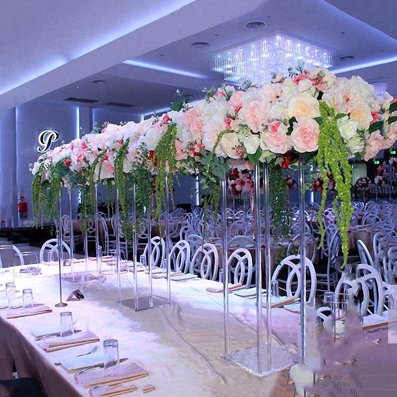 JAROWN New Wedding Desktop Centerpiece Flower Stand Flower Pillar Acrylic Crystal Road Lead Wedding Scene Layout Props (6)