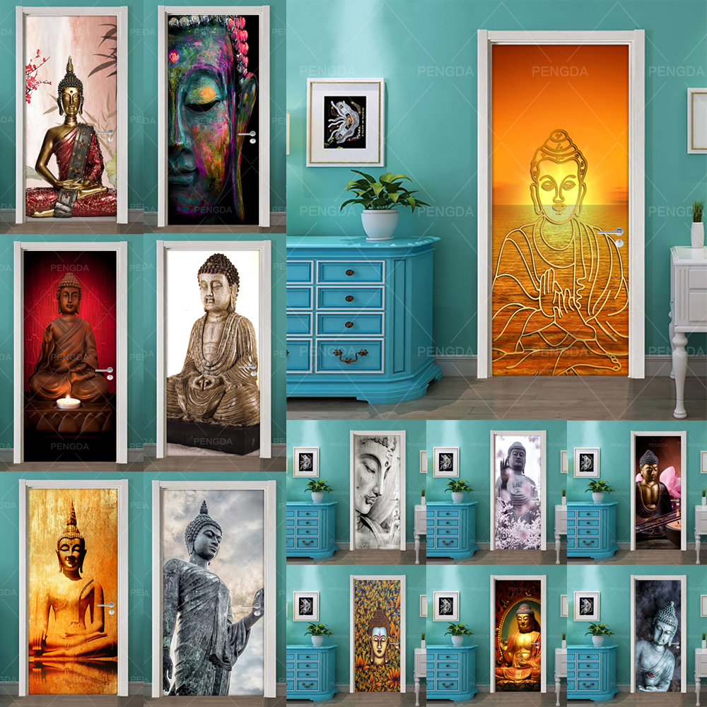 DIY Home Decor Decals Self Adhesive Buddha Statue Religion Print Art Picture 3D Door Sticker Waterproof Mural Bedroom Renovation