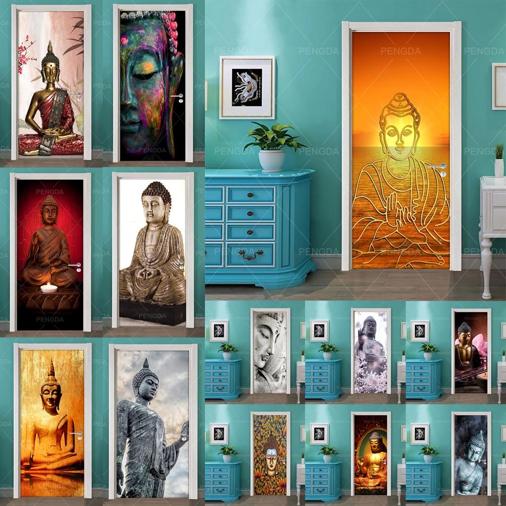DIY Home Decor Decals Self Adhesive Buddha Statue Religion Print Art Picture 3D Door Sticker Waterproof Mural Bedroom Renovation