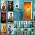 FAI DA TE Complementi Arredo Casa Decalcomanie Autoadesivo Adesivo Statua di Buddha Religione Stampa Artistica Picture 3D Porta Sticker Impermeabile Camera Da Letto Murale di Ristrutturazione