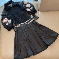 Luxury Pearl Chain Belt Decoration Black Ball Gown Skirts Womens 2020 Summer Runway Design Tassel Bottom Elegant Lady Midi Skirt