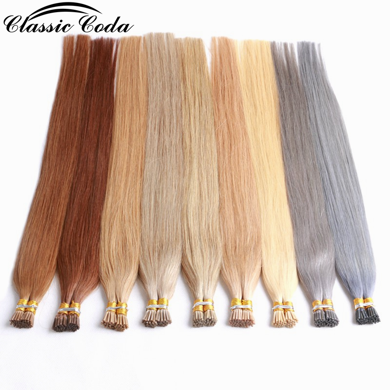 Classic Coda Fusion Keratin Bond Human Hair Extensions 1g/s Capsule I Tip Real Remy Pre Bonded Hair Platinum Blonde 20'' 22''