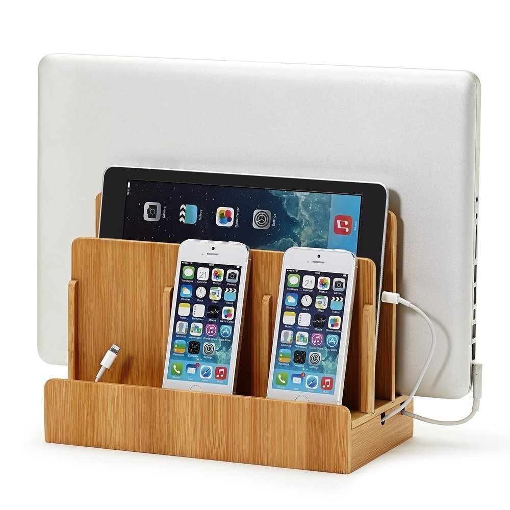 Bamboo Multifunctional Station Dock Stand Holder For Phone Laptop Station Dock Stand Holder Support Charging Cable(not Included)