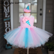 Kids Candy Color Ruched Ice cream tutu dress costume baby girls brithday party dresses Princess dresses girl vestidos PQ255