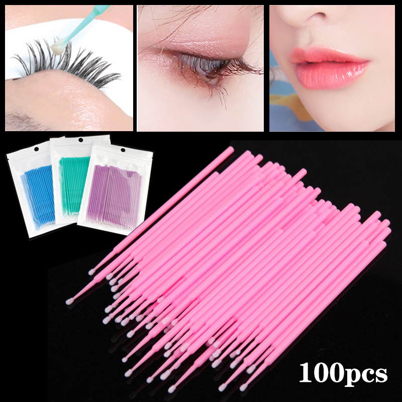 100pcs Disposable Cotton Swabs Colorful Eyelash Brushes Cleaning Swab Individual Eyelashes Extension Remover Microbrush Tool Kit