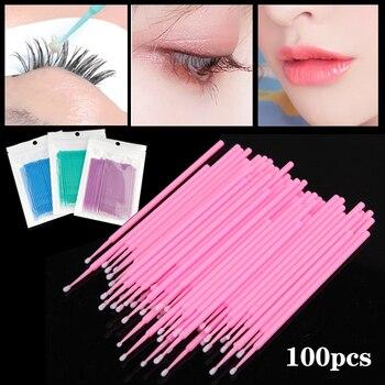 100pcs Disposable Cotton Swabs Colorful Eyelash Brushes Cleaning Swab Individual Eyelashes Extension Remover Microbrush Tool Kit