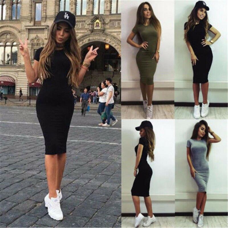 Women Clothing Short Sleeve Skinny Party Brief Dress Midi Dress SEXY Women Ladies Dresses Summer Casual