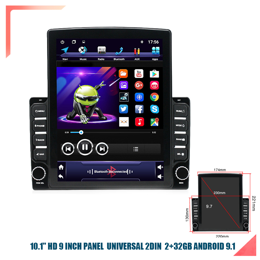 9.7 '' HD Android 9.1 Quad- Core RAM 2GB ROM 32GB Car Stereo Radio GPS WIFI Mirror Link OBD 9 Inch Installation Size