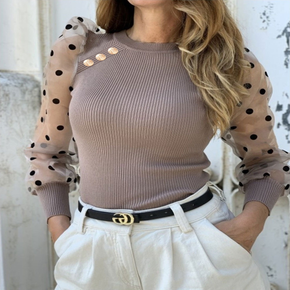 Casual Dot Print Mesh Puff Sleeve Transparent Knitted Sweater Pullover Winter Women Turtleneck Button Sweater Female Clothing