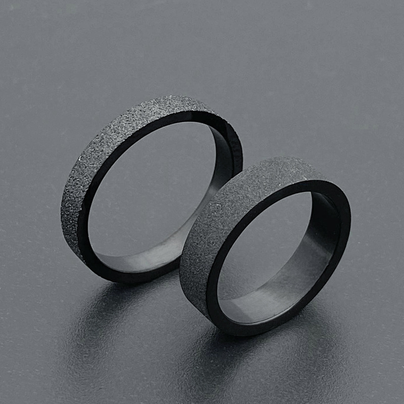 Simple 3mm 5mm Woman Men's Couple Black Titanium Ring Matte Finished Finger Ring Jewelry for Male Wedding Bands Gift