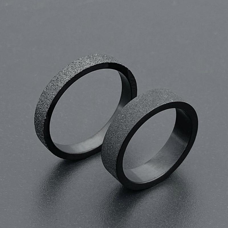 Мужское и женское кольцо из черного титана, простое матовое кольцо 3 мм 5 мм для пар, Подарочные обручальные кольца для мужчин