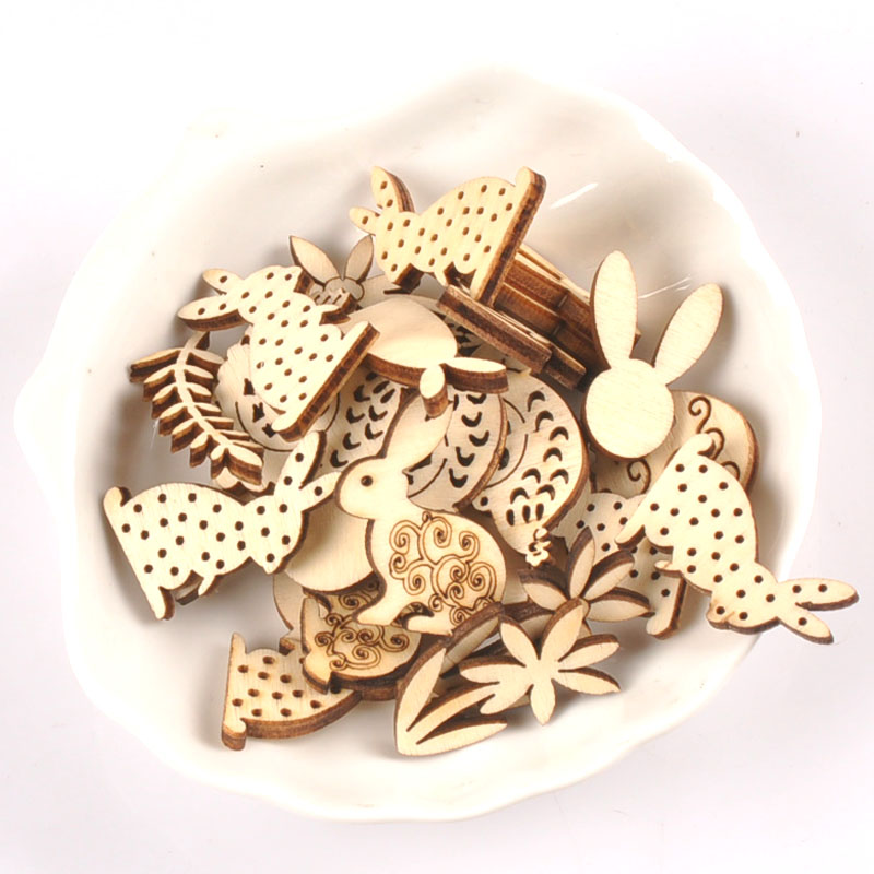 Mixed Rabbit Pattern Natural Wood Crafts For Wooden Ornaments DIY Arts Scrapbook Home Decor Embellishments 25pcs 25-30mm M2566