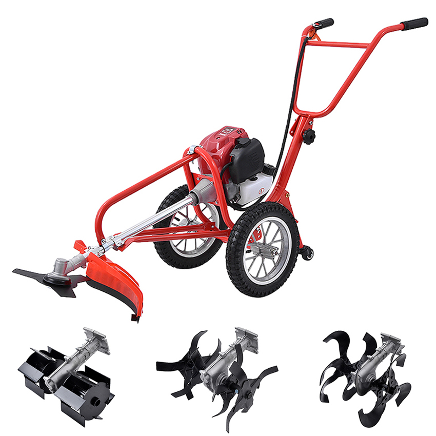 Multi-purpose Hand-push Type Portable Weeding Machine Lawn Mower Soil Loosening Machine With Four-stroke GX35 140 Engine 1900W
