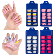 100Pcs Colorful False Nails Artificial Full Nail Tips Set Press On Fake Nails Art Decoration Manicure Fake Extension Nail Tips