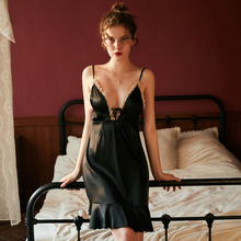 цена на Black Deep V Sexy Sling sleep wear Women Summer Thin Dress Ice Silk Backless Large Size Nightdress Set