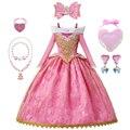 Mädchen Dornröschen Aurora Kleid Lange Ärmel Off Schulter Spitze Robe Kinder Wunderschöne Weihnachten Geschenk Phantasie Prinzessin Party Outfits