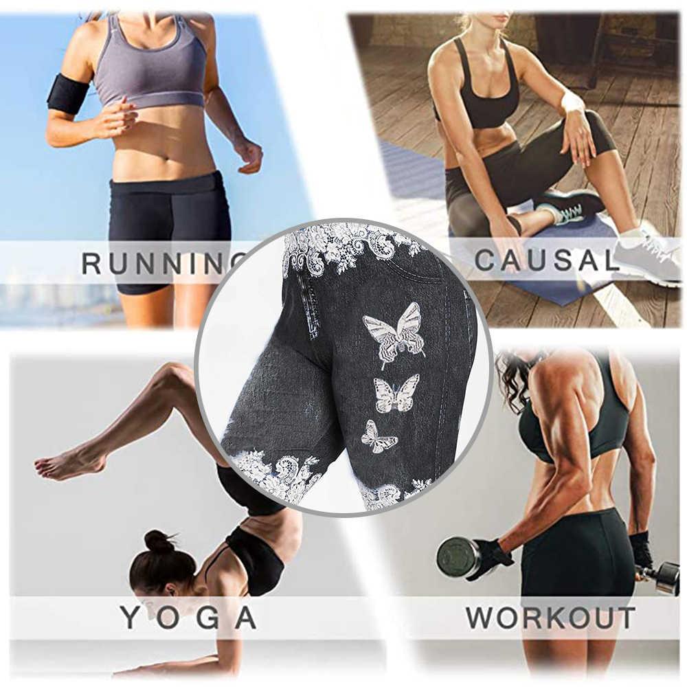 Damskie koronkowe poszarpane szorty dżinsowe wysokiej talii sportowe krótkie treningi Running Fitness leginsy damskie Casual Push Up Gym Yoga Shorts