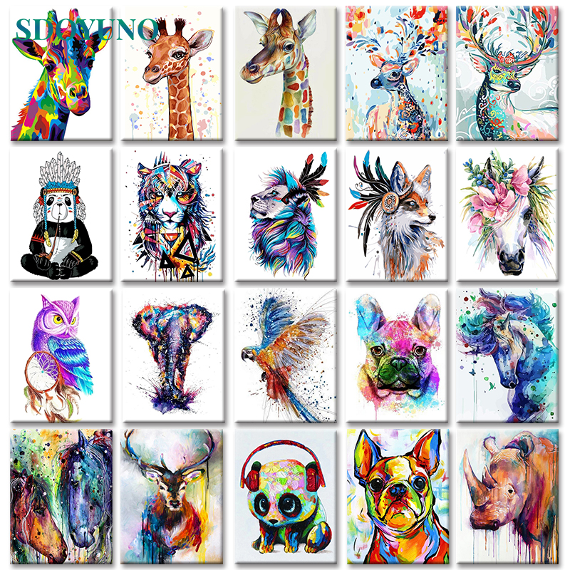 SDOYUNO Frameless-Painting Numbers Animals-On-Canvas-Pictures Home-Decoration Minimalism-Style