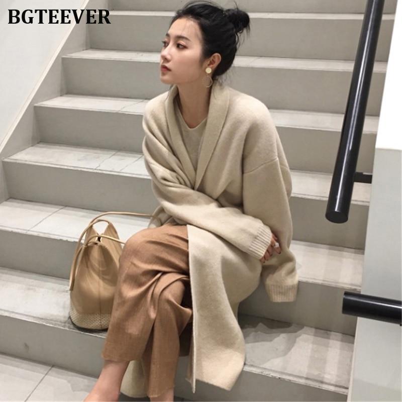 Winter Thick Long Cardigan Knitted Sweater Women Long Sleeve Female Jumper Cardigan Casual Streetwear Open Stitch Sweater 2019