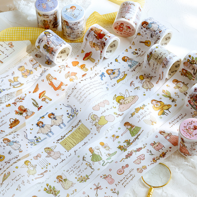 Alice In Wonderland Series Bullet Journal Washi Tape Vintage Plant Decorative Adhesive Tape DIY Scrapbooking Sticker Label
