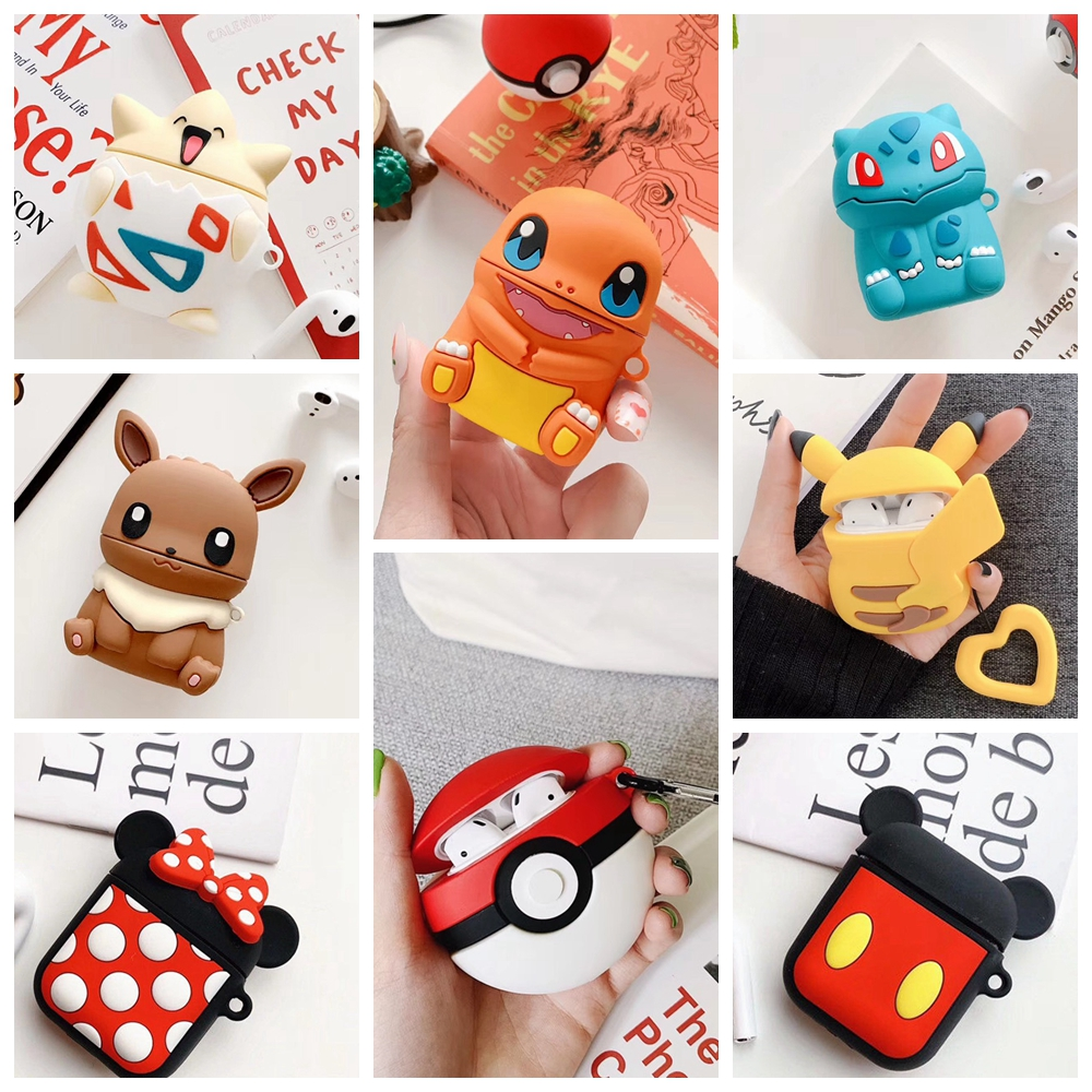 3D Cute Cartoon For <font><b>Airpods</b></font> <font><b>Case</b></font> Cover on Headphones <font><b>Case</b></font> Portable Storage Box For <font><b>Apple</b></font> <font><b>AirPods</b></font> 1 2 Earphone <font><b>Case</b></font> Accessories image