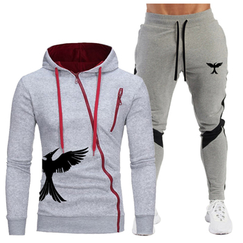 2020 New Branded clothing hot sale mens hoodies + pants two-piece leisure sports diagonal zipper suit sportswear 4XL
