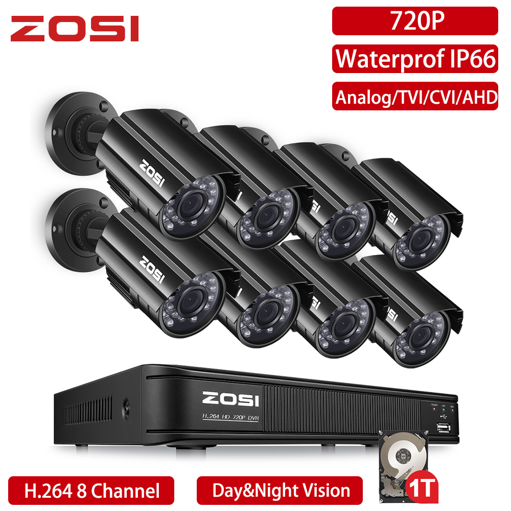 ZOSI 720P 8 Channel CVBS AHD TVI CVI 4-in-1 CCTV System DVR 1MP Bullet Outdoor Video Nightvision System Surveillance DVR Kit HDD