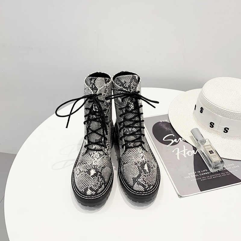 Yılan desen dantel-up kısa çizmeler kadın iş elbisesi martin botas sürüngen kalın topuklu motosiklet ayak bileği şişeler femme kış ayakkabı