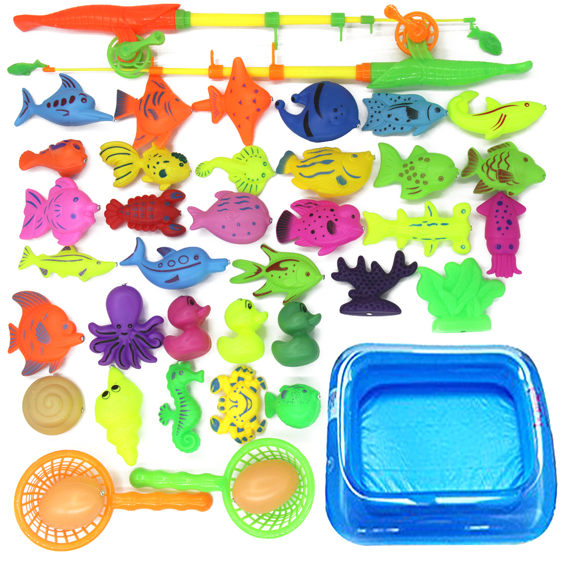 10pcs Fish Magnetic Fishing Toy Rod Net Set For Kids Child Model Play Fishing Games Outdoor Toys Inflatable Pool Air Pump