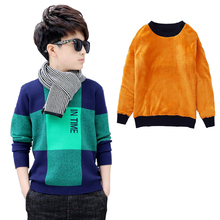 Boys winter velvet sweater kids Warm Pullovers plush inside Knitted sweaters Loose jacket 4 13T teenage plaid O neck sweaters