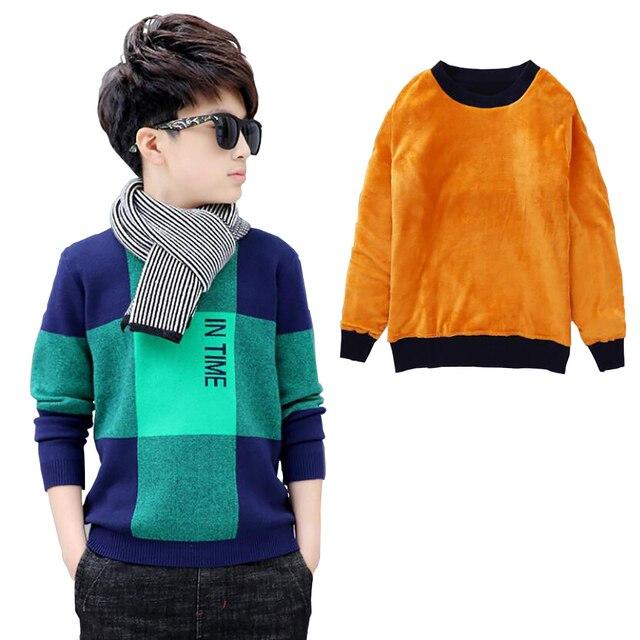 Chłopcy zimowy aksamitny sweter dzieci ciepłe pulowery pluszowe wewnątrz dzianinowe swetry kurtka luźna 4 13T nastoletnia chusta O neck swetry