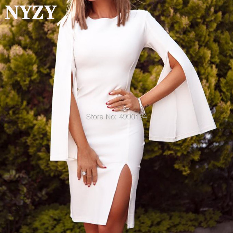 Cocktail     Dresses   NYZY C222 Cape Sleeves Lycra White   Dress   Party Evening Prom Graduation Homecoming 2019