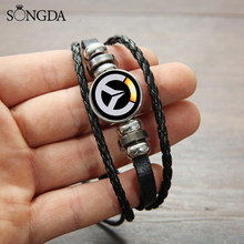 SONGDA Cool Overwatch Game Icon Bracelet OW Personality Printed Glass Cabochon Snap Button Mens Casual Bracelet Dropshipping(China)
