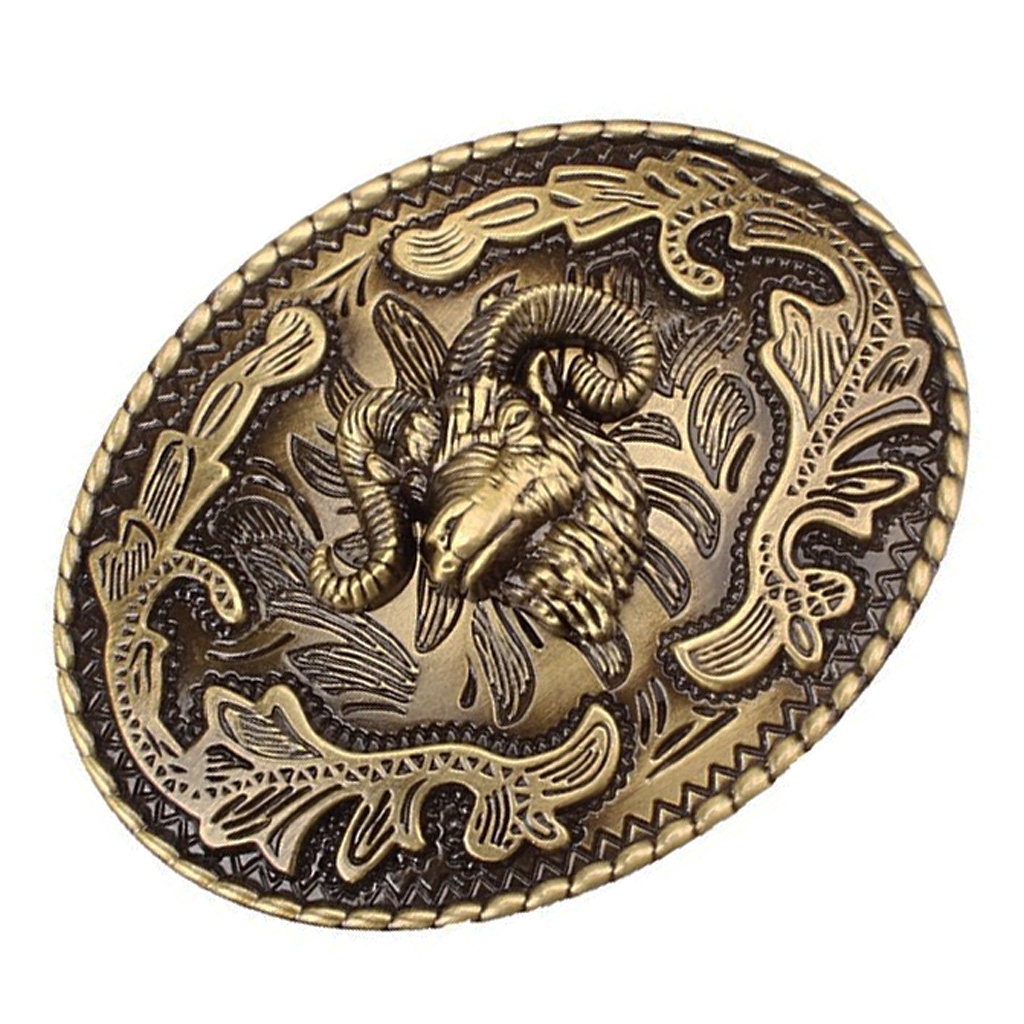Western Belt Buckle Goat Head Shape Zinc Alloy Cowgirl Rodeo Novelty Vintage