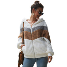 Autumn winter women coat 2020 fashion long sleeve spliced velvet warm white zip hood teddy jackets coats ladies sweatshirt