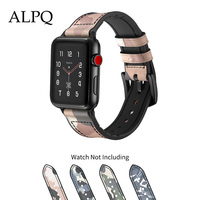 ALPQ Camouflage Breathable Strap For Apple Watch 38mm 40mm 42mm 44mm Genuine Leather Wrist Bracelet For iwatch Series 5 4 3 2 1